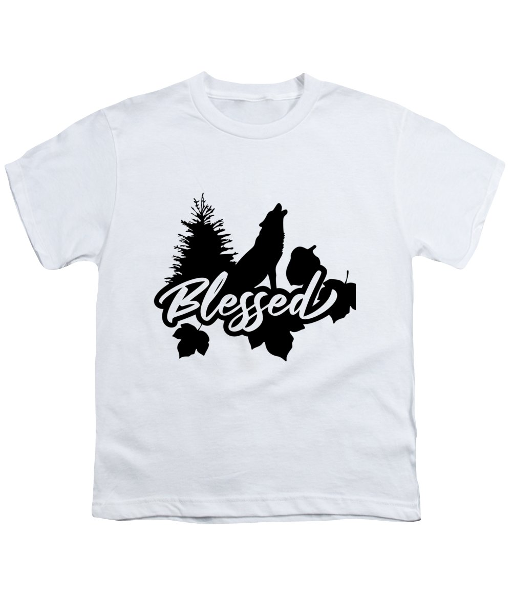 Autumn Season Youth T-Shirt featuring the digital art Blessed Thanksgiving Autumn Nature Wolf by Passion Loft