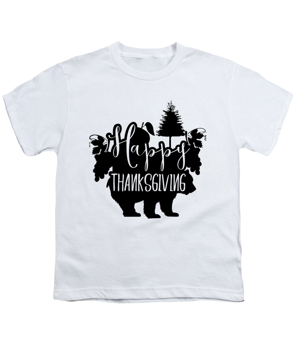 Autumn Season Youth T-Shirt featuring the digital art Happy Thanksgiving Bear Pine Tree Grapes by Passion Loft