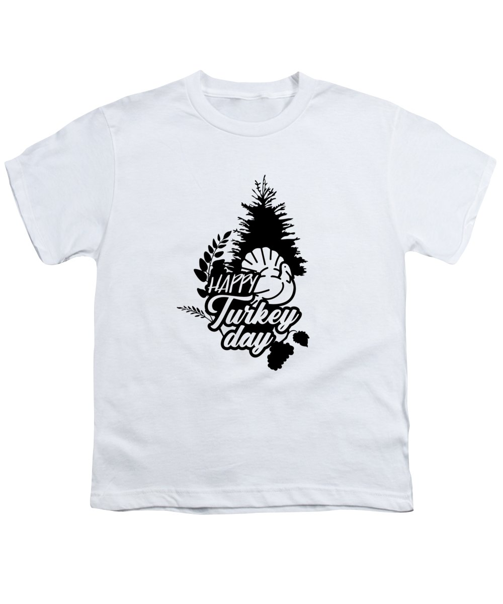 Wheat Youth T-Shirt featuring the digital art Happy Turkey Day Thanksgiving Day by Passion Loft