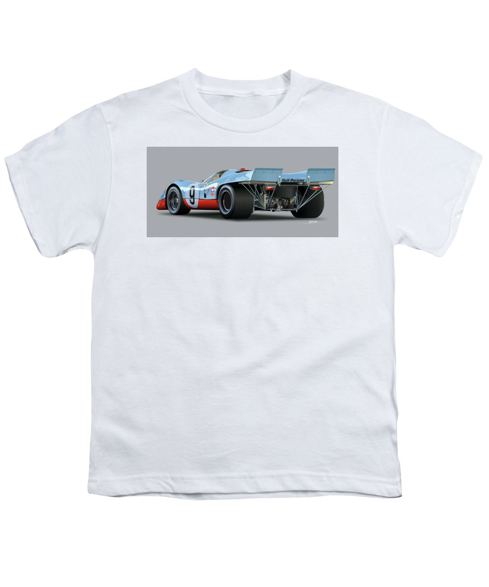 Illustration Of A Porsche 917 Rear Youth T-Shirt featuring the drawing Porsche 917 Rear by Alain Jamar