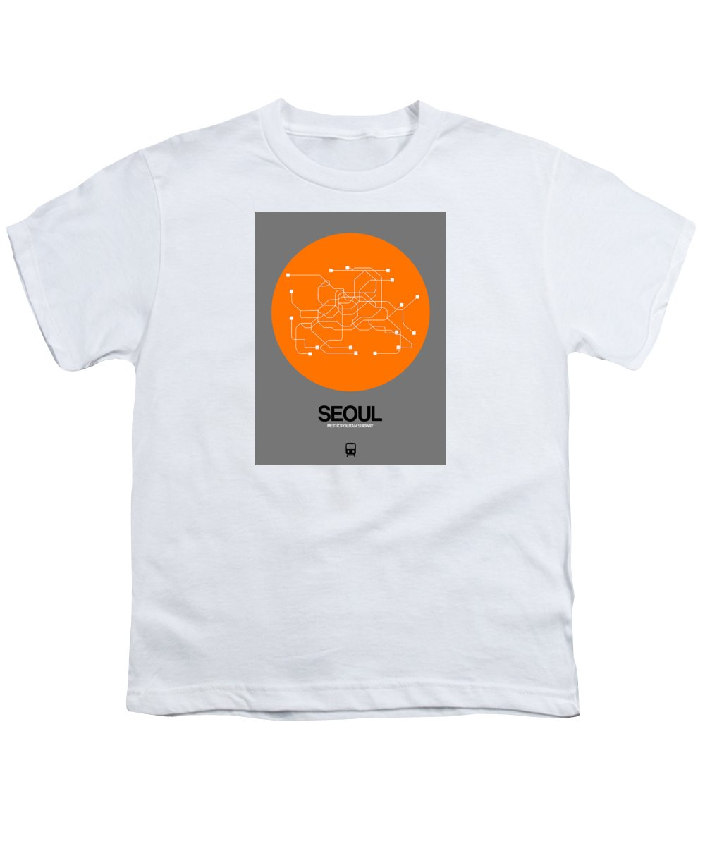 Vacation In Korea Youth T-Shirt featuring the digital art Seoul Orange Subway Map by Naxart Studio