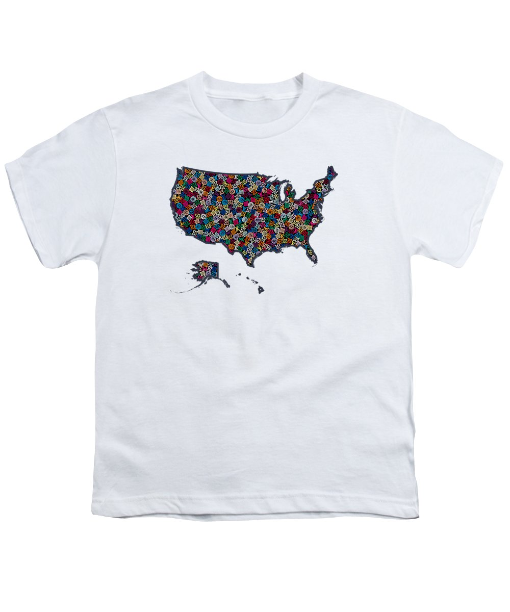 Lv Youth T-Shirt featuring the painting United States Map-1 by Nikita