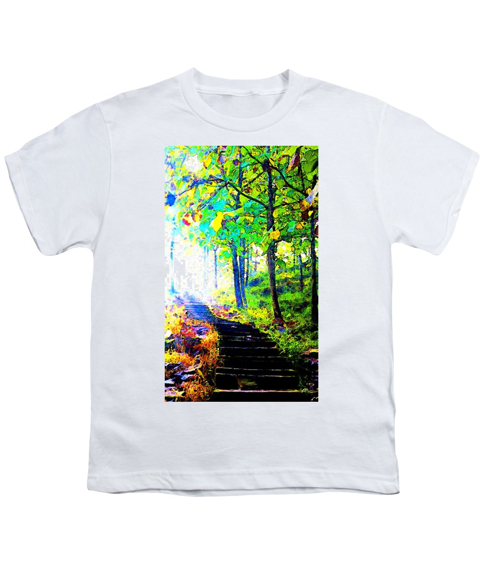 Landscape Youth T-Shirt featuring the digital art Garden Stairway Abstract by Linda Mears