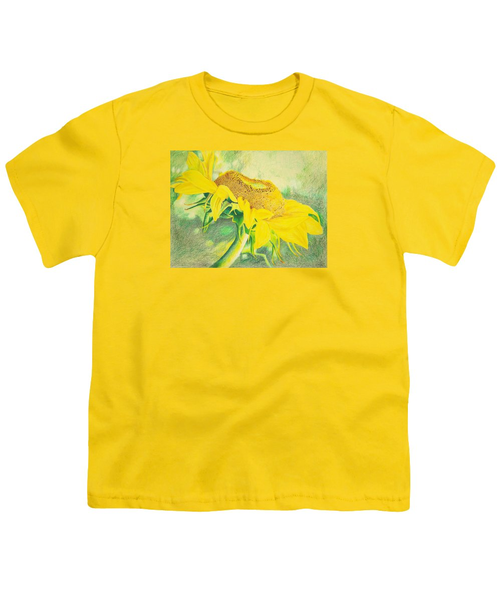 Sunflower Art Print Youth T-Shirt featuring the mixed media Sunflower Print Art For Sale Colored Pencil Floral by Diane Jorstad
