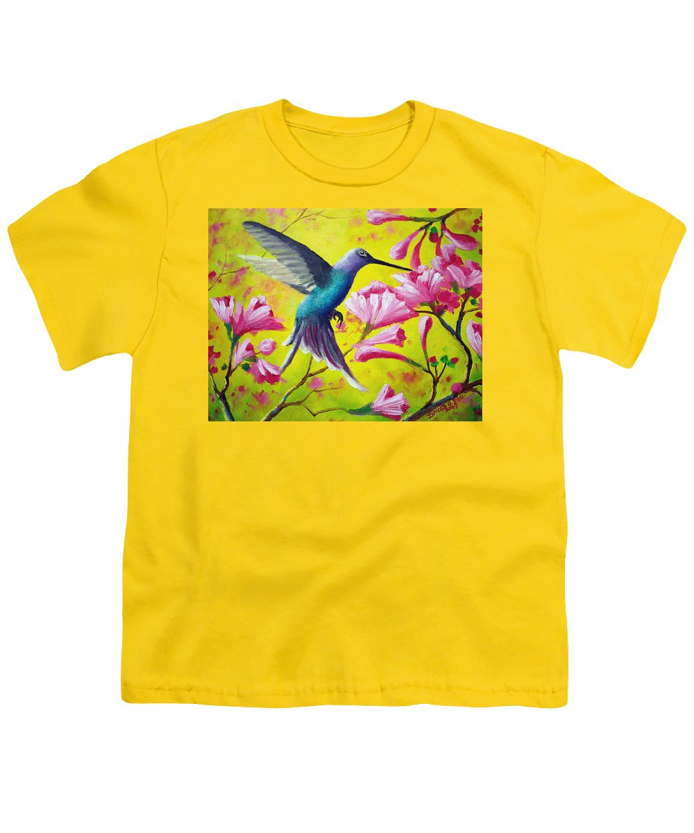 Hummingbird Youth T-Shirt featuring the painting Morning Sweets by David G Paul