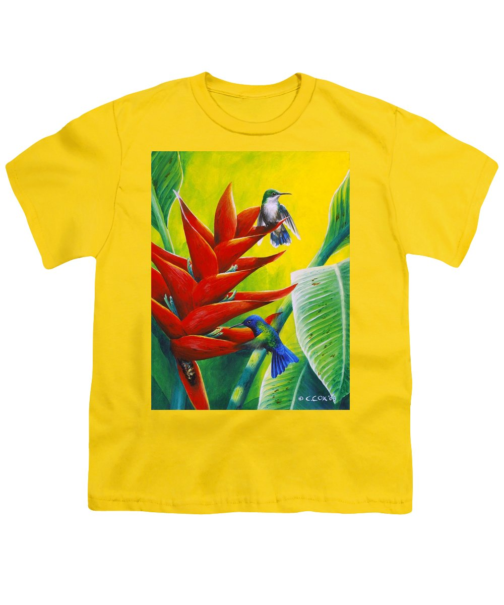 Chris Cox Youth T-Shirt featuring the painting Blue-headed Hummingbirds And Heliconia by Christopher Cox