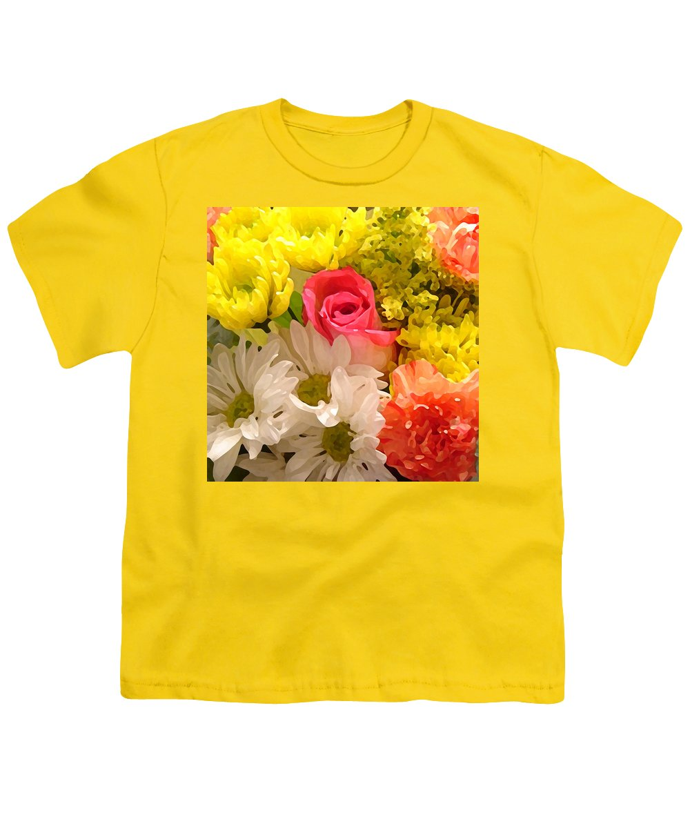 Floral Youth T-Shirt featuring the painting Bright Spring Flowers by Amy Vangsgard