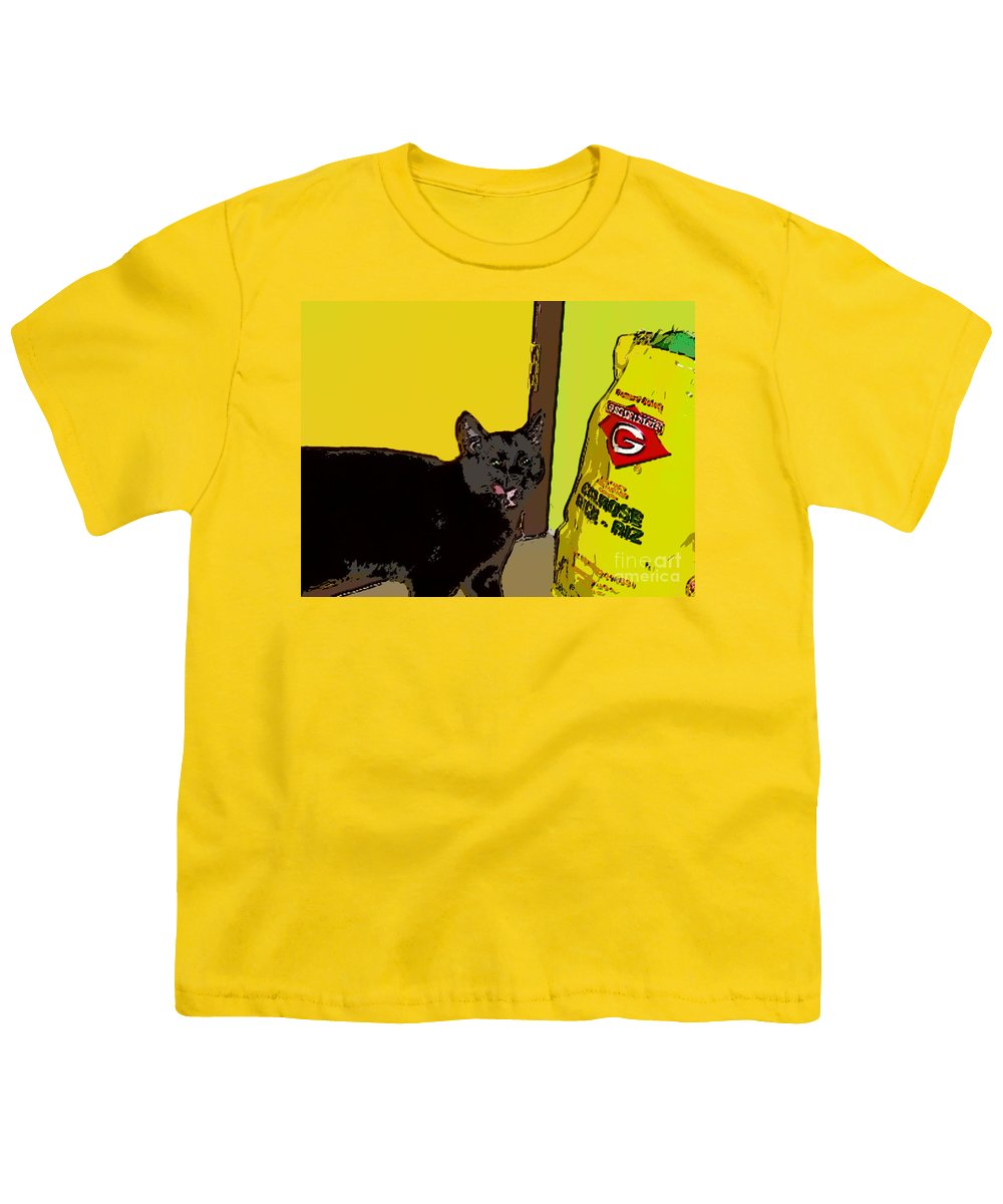 Photograph Cat Black Rice Yellow Critter Green Red Youth T-Shirt featuring the photograph Cat And Rice by Seon-Jeong Kim