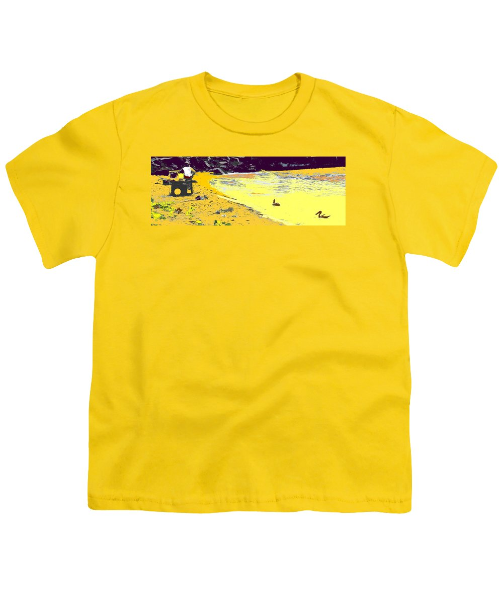 St Kitts Youth T-Shirt featuring the photograph Feeding The Pelicans by Ian MacDonald