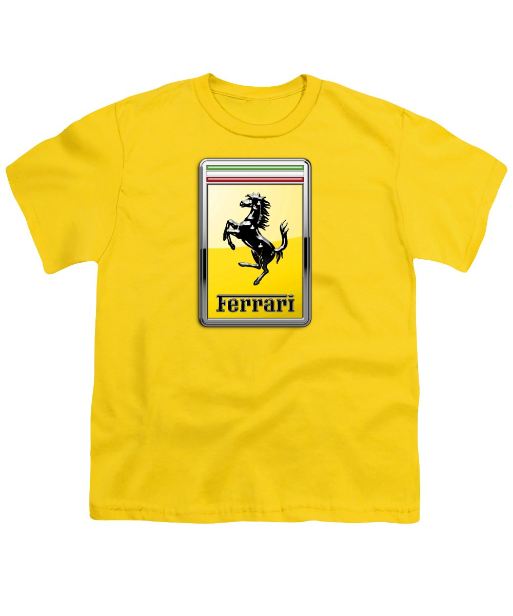 �auto Badges� Collection By Serge Averbukh Youth T-Shirt featuring the photograph Ferrari 3d Badge- Hood Ornament On Yellow by Serge Averbukh