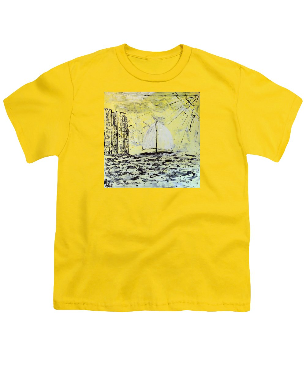 Sailboat With Sunray Youth T-Shirt featuring the painting Sail And Sunrays by J R Seymour