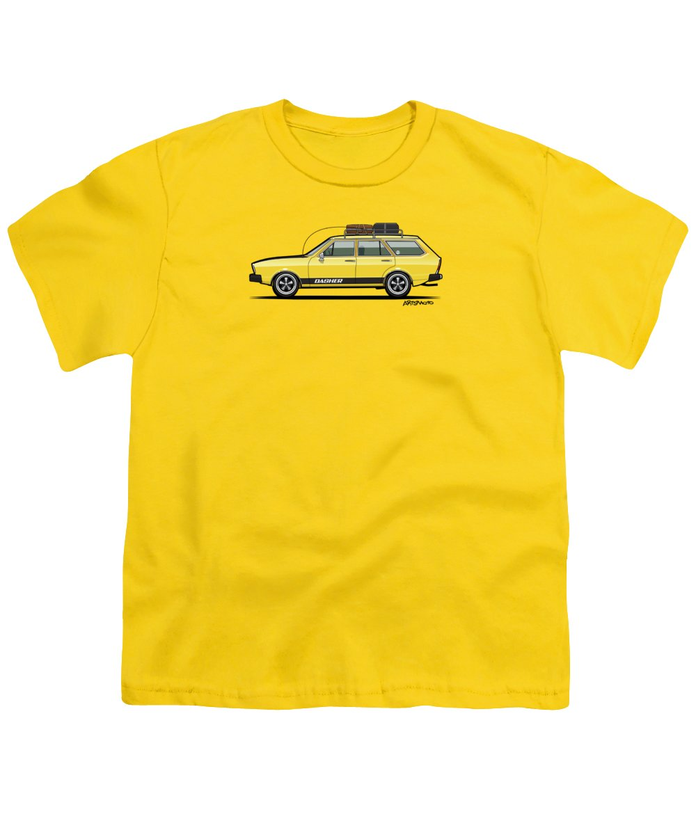 Car Youth T-Shirt featuring the digital art Saturn Yellow Volkswagen Dasher Wagon by Monkey Crisis On Mars