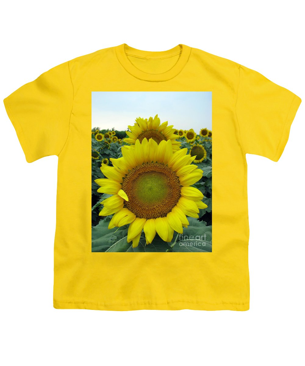 Sunflowers Youth T-Shirt featuring the photograph Sunflowers by Amanda Barcon