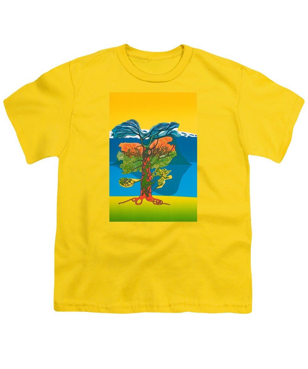 Landscape Youth T-Shirt featuring the mixed media The Tree Of Life. From The Viking Saga. by Jarle Rosseland