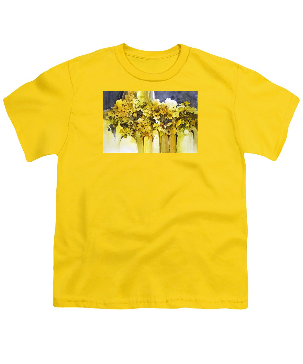 Yellow Flowers;sunflowers;vases;floral;contemporary Floral; Youth T-Shirt featuring the painting Vases Full Of Blooms  by Lois Mountz