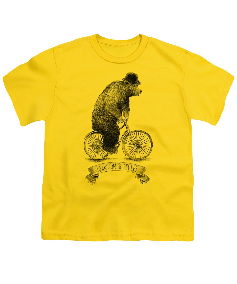 Bear Youth T-Shirt featuring the digital art Bears On Bicycles by Eric Fan
