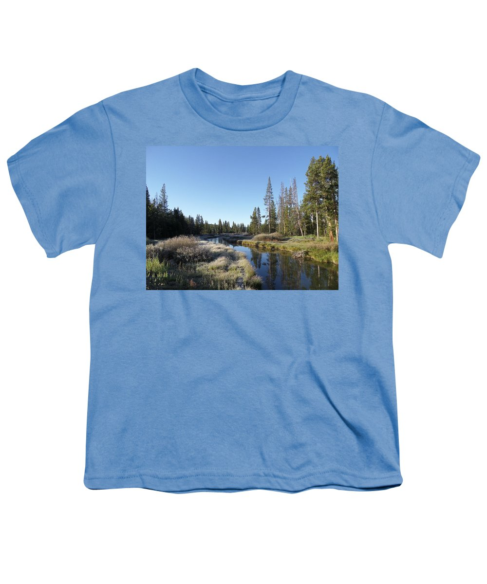 Blue Youth T-Shirt featuring the photograph A Frosty Morning Along Obsidian Creek by Frank Madia