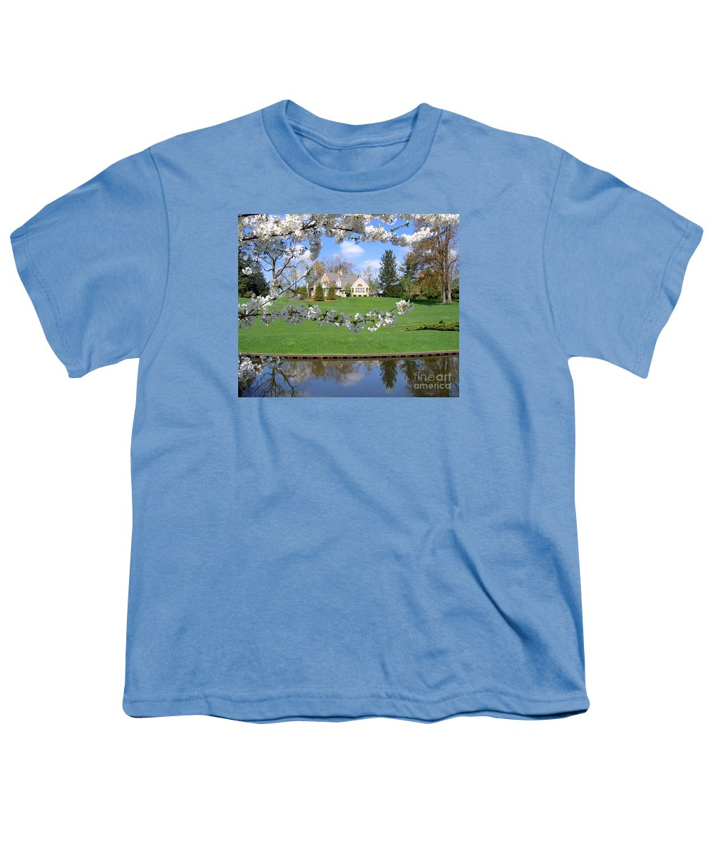 Spring Youth T-Shirt featuring the photograph Blossom-framed House by Ann Horn