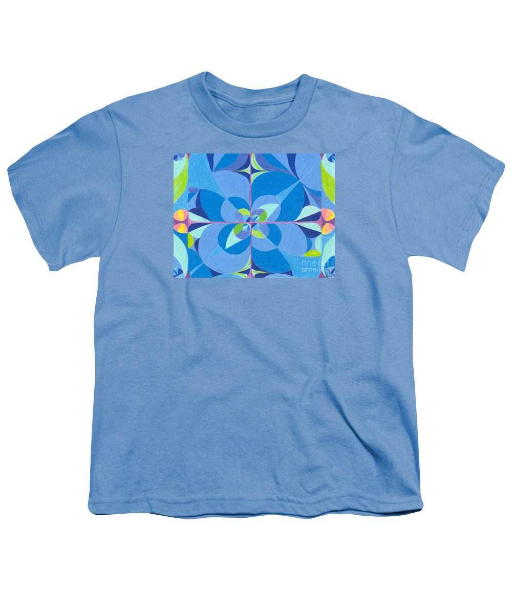 Color Youth T-Shirt featuring the drawing Blue Unity by Kim Sy Ok
