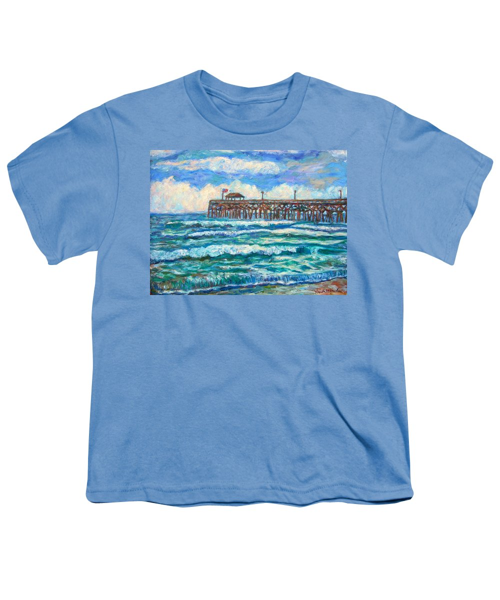 Shore Scenes Youth T-Shirt featuring the painting Breakers At Pawleys Island by Kendall Kessler