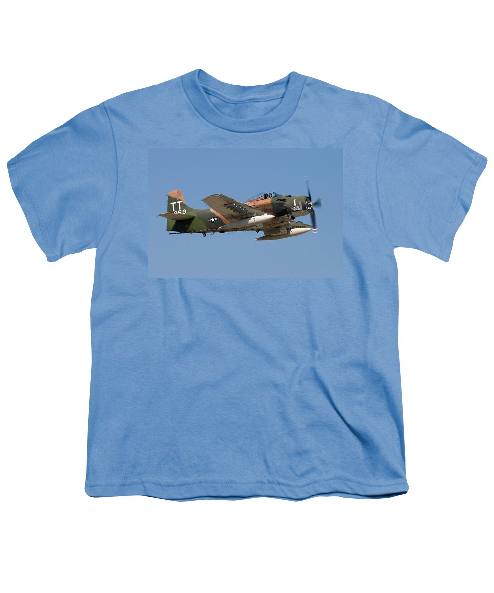 3scape Photos Youth T-Shirt featuring the photograph Douglas Ad-4 Skyraider by Adam Romanowicz
