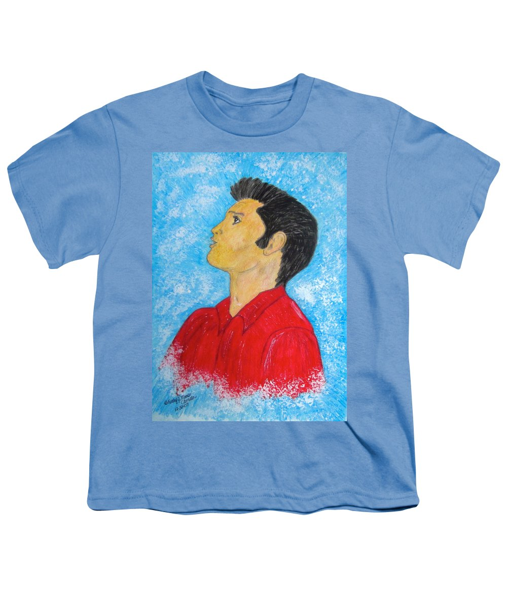 Elvis Presely Youth T-Shirt featuring the painting Elvis Presley Singing by Kathy Marrs Chandler