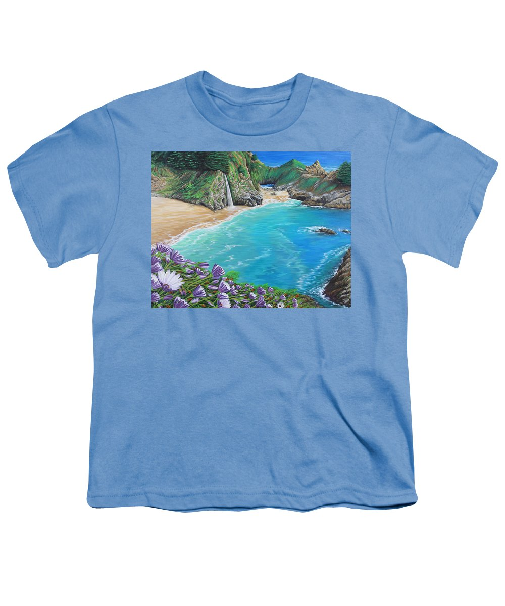 Beach Youth T-Shirt featuring the painting Mcway Falls by Jane Girardot