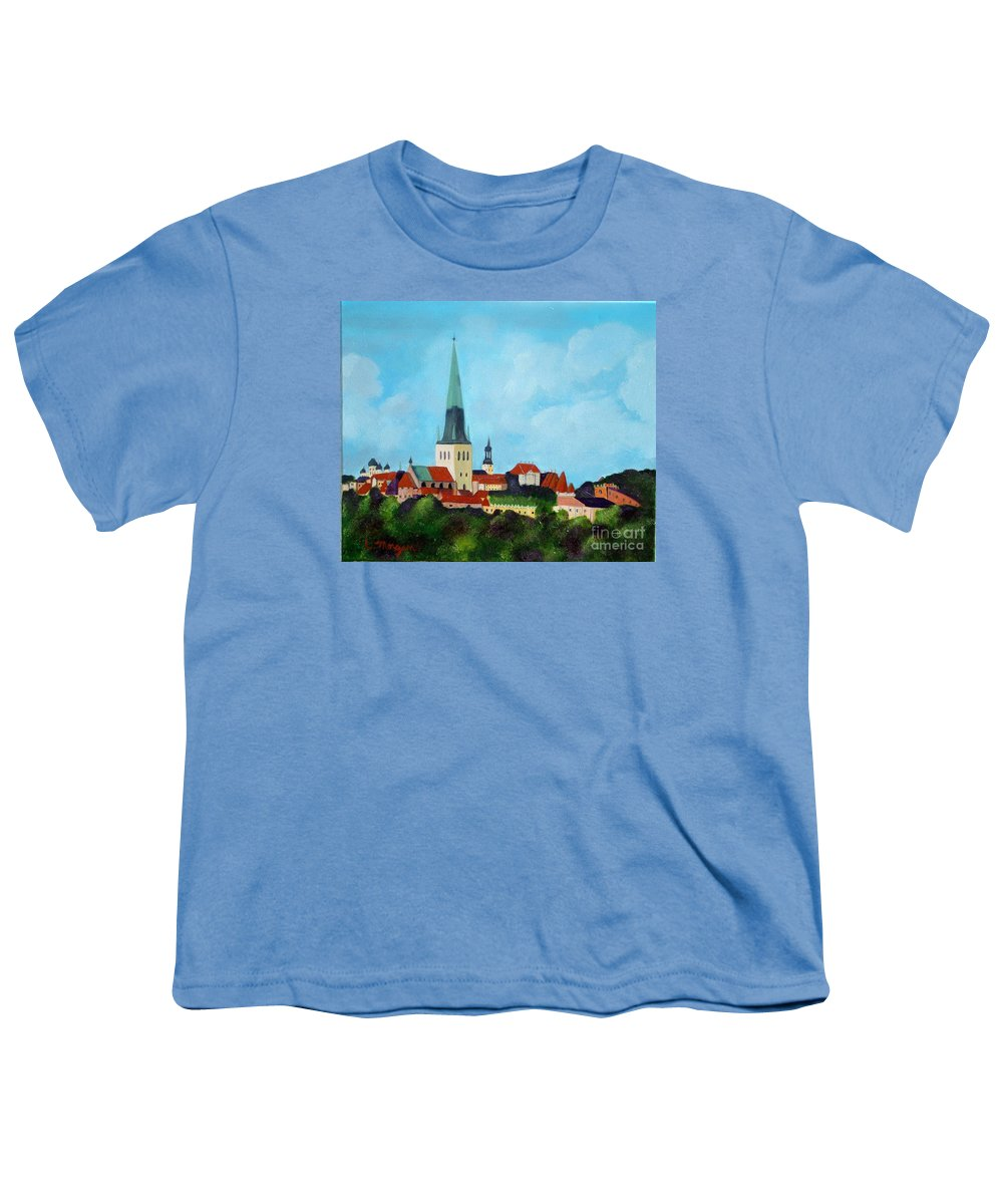 Tallinn Youth T-Shirt featuring the painting Medieval Tallinn by Laurie Morgan