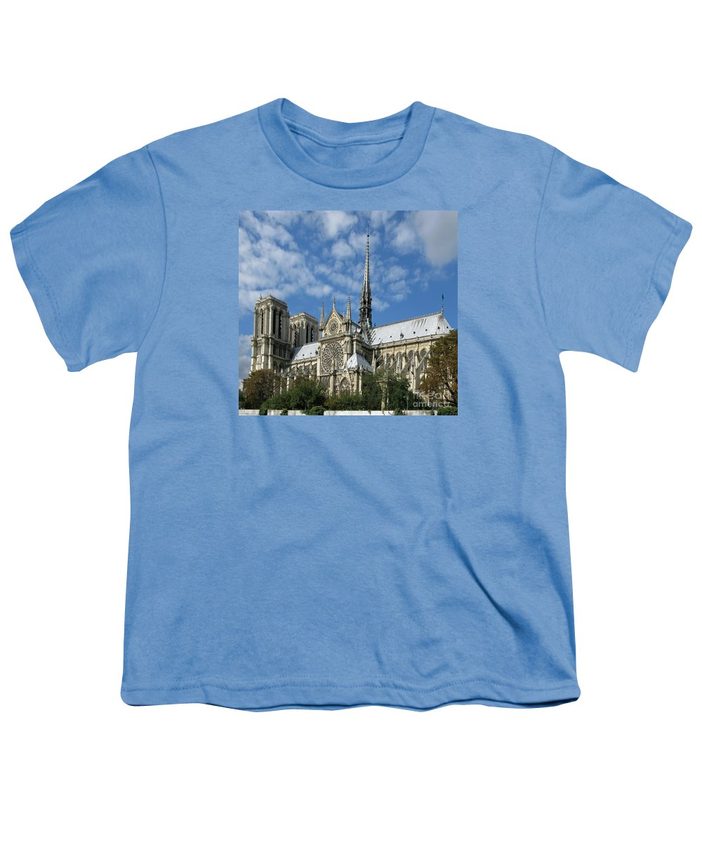 Notre Dame Youth T-Shirt featuring the photograph Notre Dame Cathedral by Ann Horn