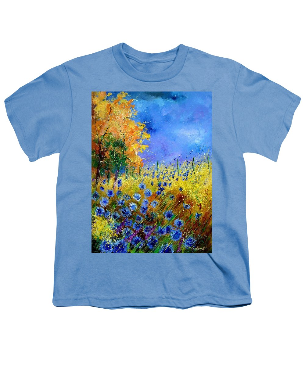 Poppies Youth T-Shirt featuring the painting Orange Tree And Blue Cornflowers by Pol Ledent