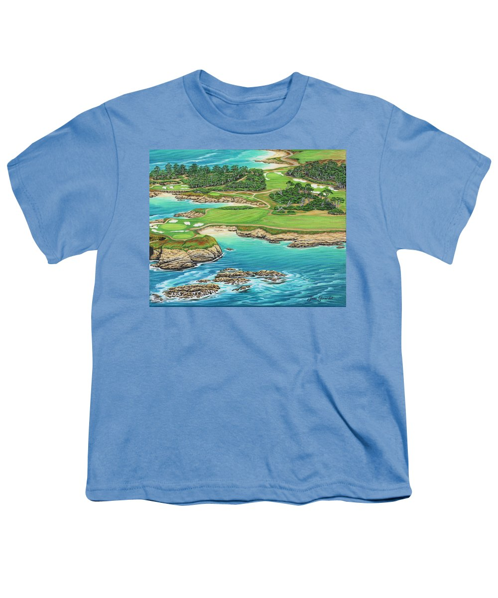 Ocean Youth T-Shirt featuring the painting Pebble Beach 15th Hole-south by Jane Girardot