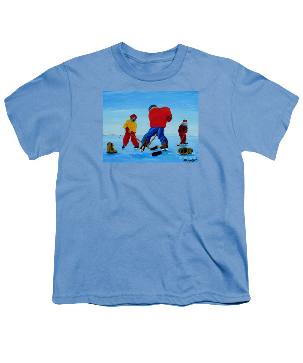 Winter Youth T-Shirt featuring the painting The Pond Hockey Game by Anthony Dunphy