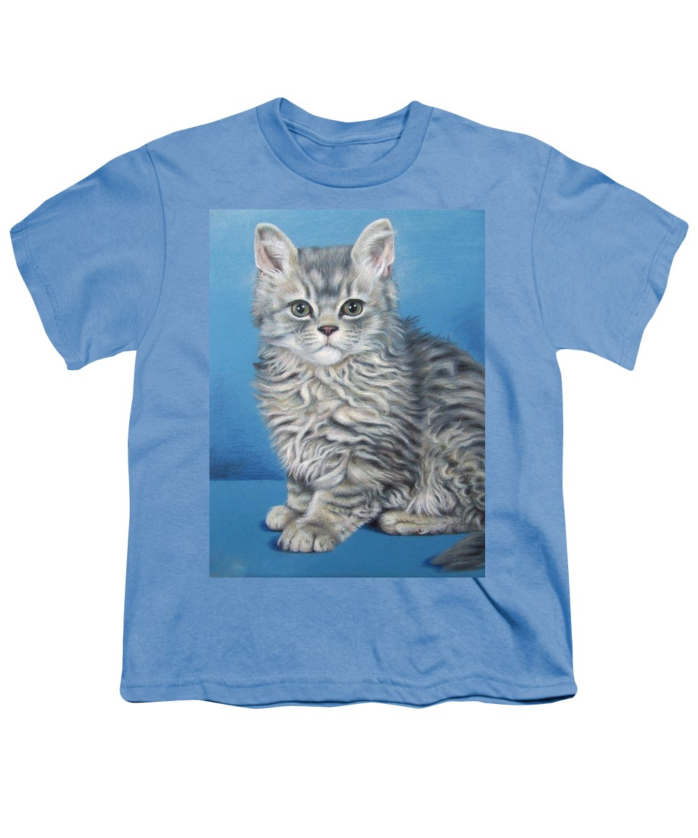 Cat Youth T-Shirt featuring the drawing Velvet Kitten by Nicole Zeug