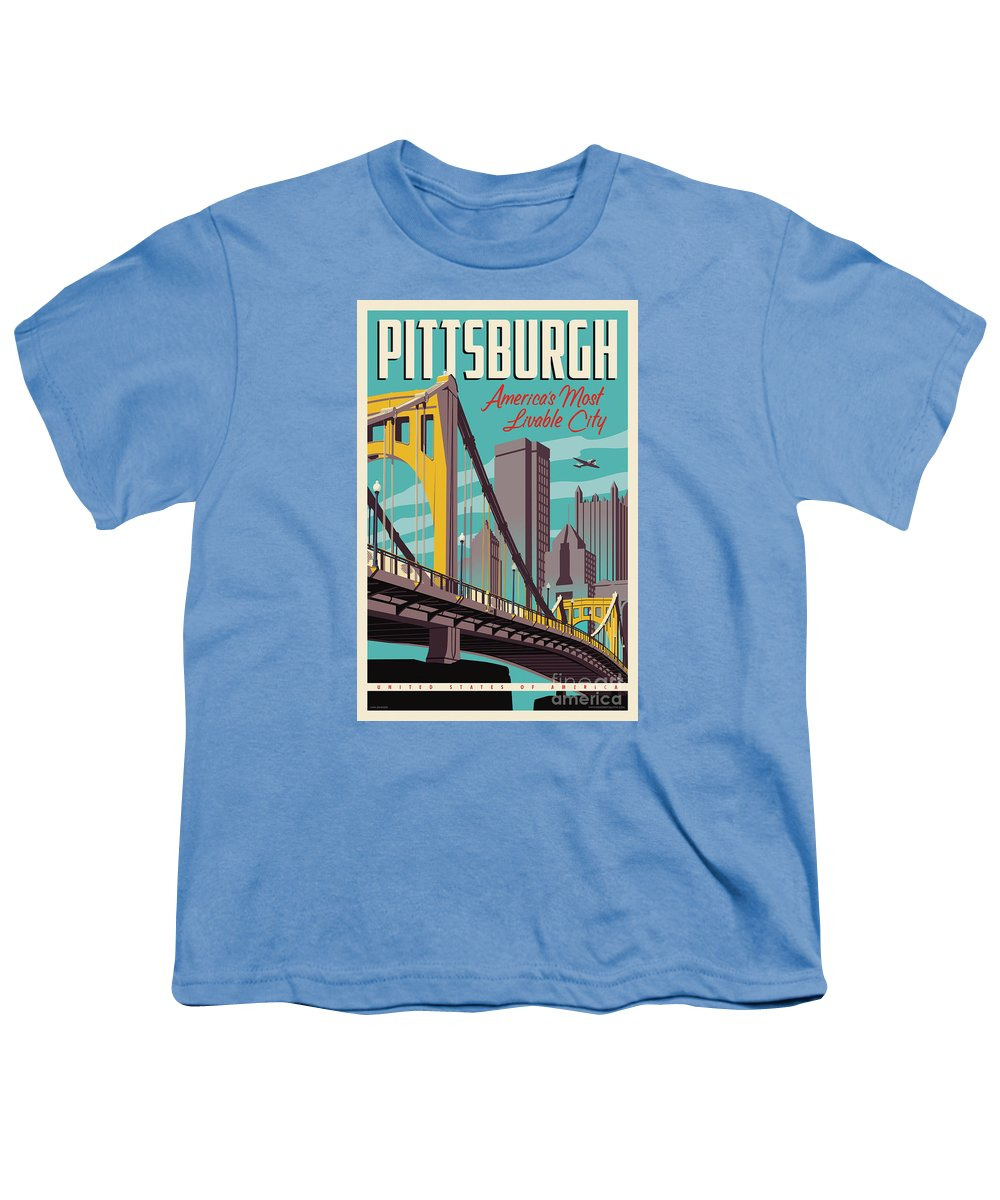 Pittsburgh Youth T-Shirt featuring the digital art Pittsburgh Poster - Vintage Travel Bridges by Jim Zahniser