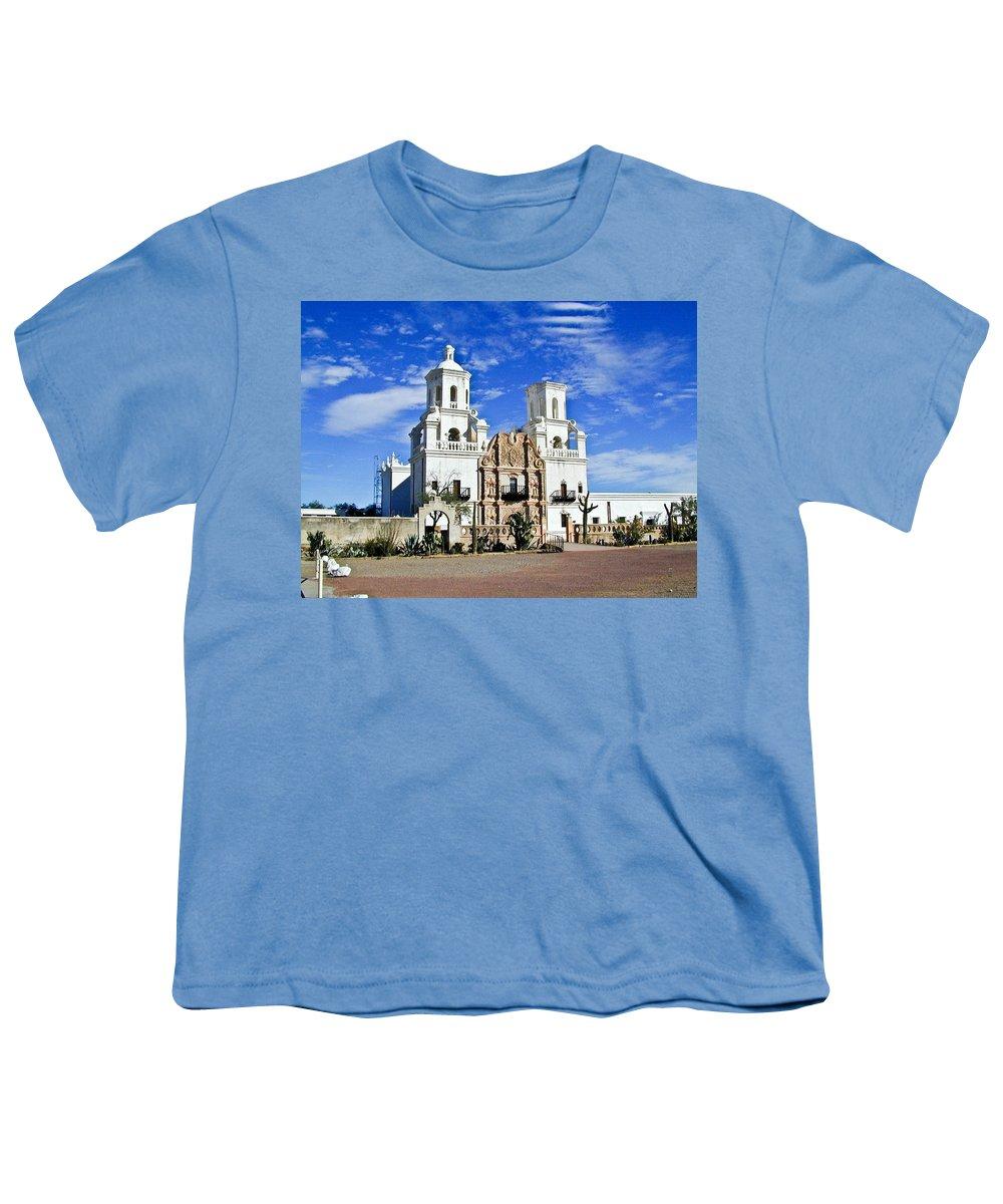 Mission San Xavier Del Bac Youth T-Shirt featuring the photograph Xavier Tucson Arizona by Douglas Barnett