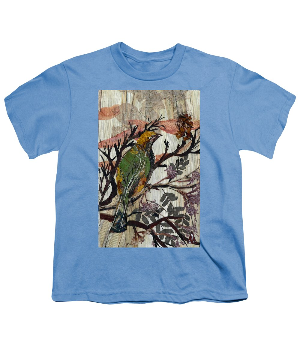 Green Bird Youth T-Shirt featuring the mixed media Green-yellow Bird by Basant Soni