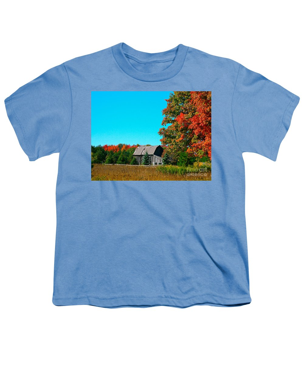 Old Barn Youth T-Shirt featuring the photograph Old Barn In Fall Color by Robert Pearson