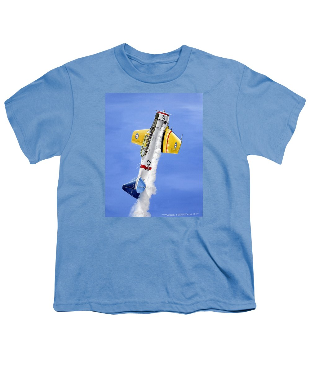 Military Youth T-Shirt featuring the painting Air Show by Marc Stewart