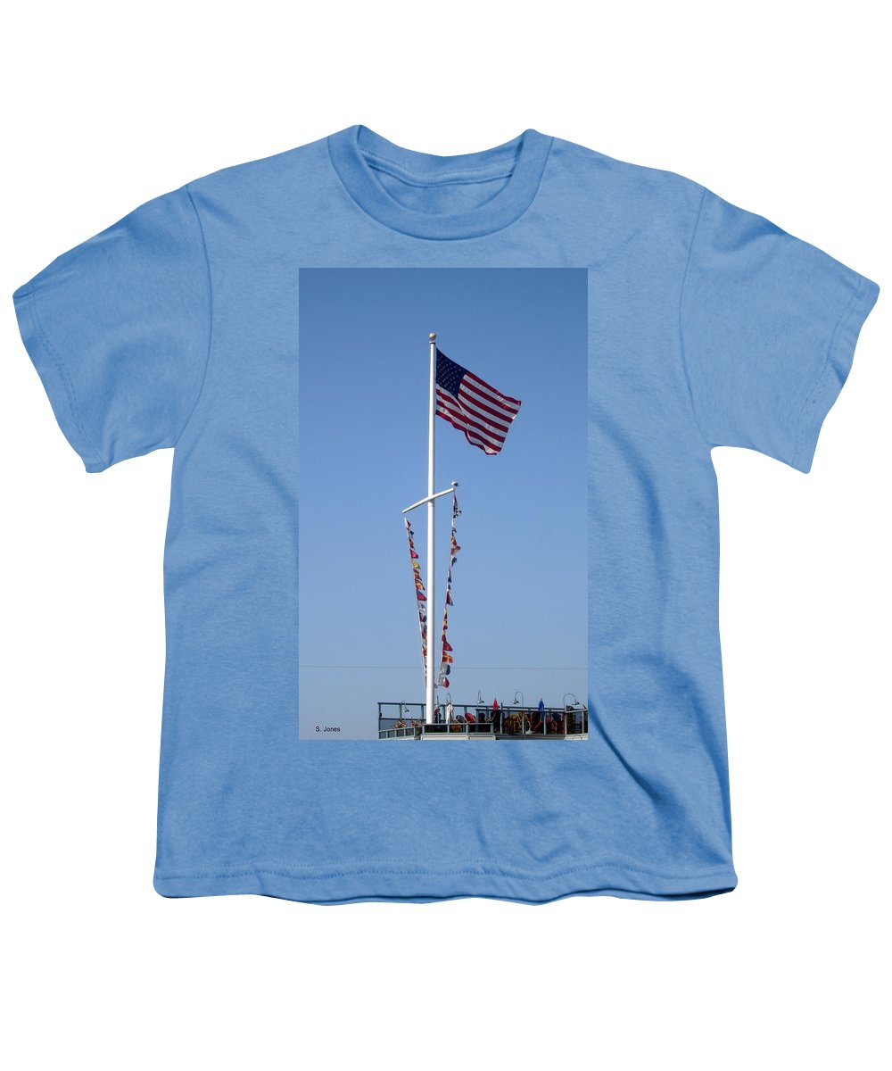American Flag Youth T-Shirt featuring the photograph American Flag by Shelley Jones