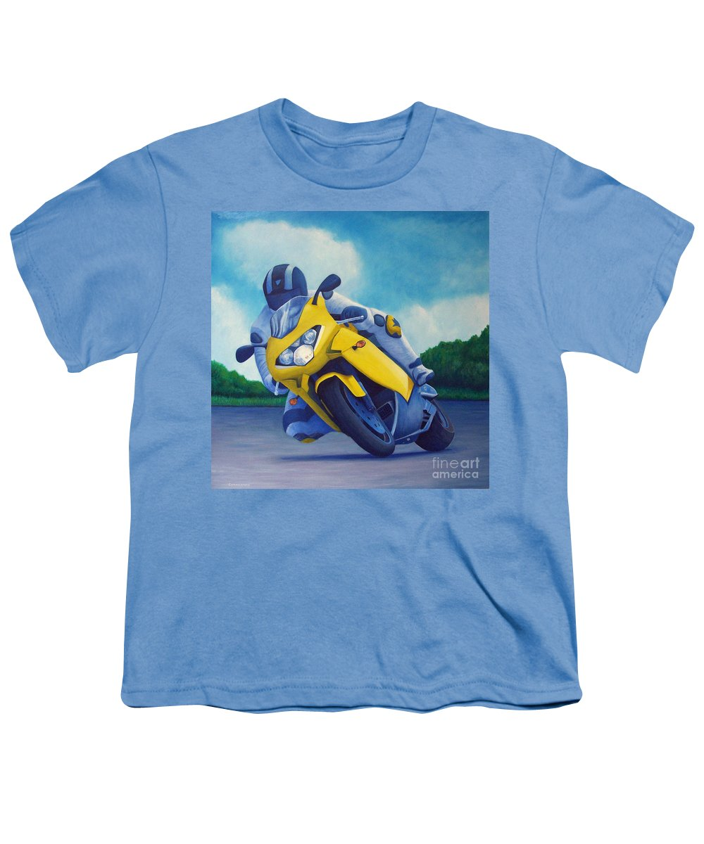 Motorcycle Youth T-Shirt featuring the painting Aprilla - Tuesday Afternoon by Brian Commerford