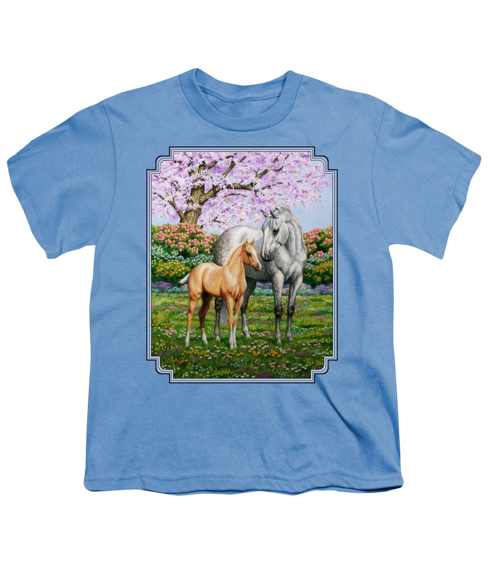 Horse Youth T-Shirt featuring the painting Spring's Gift - Mare And Foal by Crista Forest