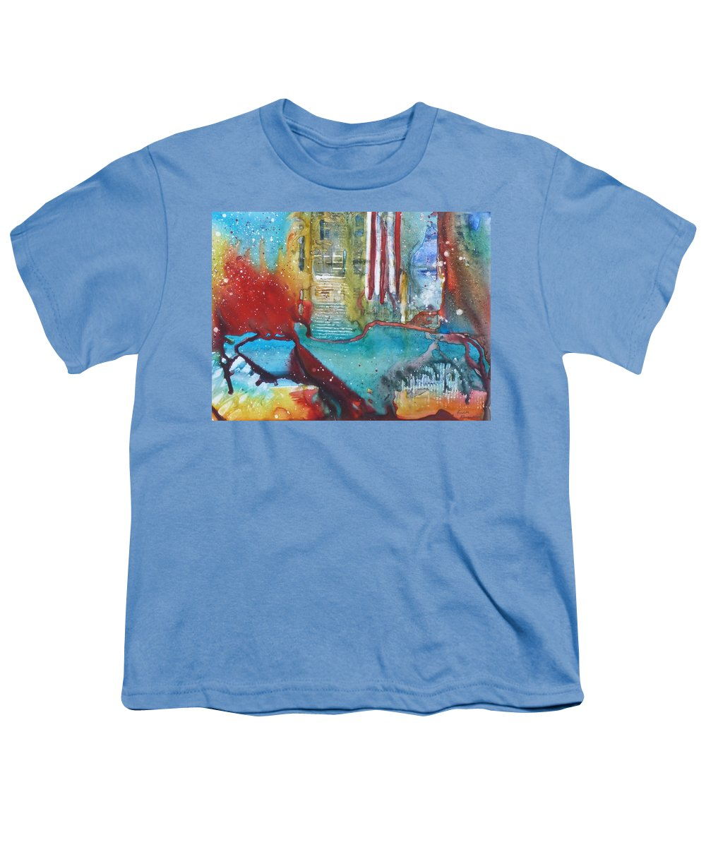 Abstract Youth T-Shirt featuring the painting Atlantis Crashing Into The Sea by Ruth Kamenev