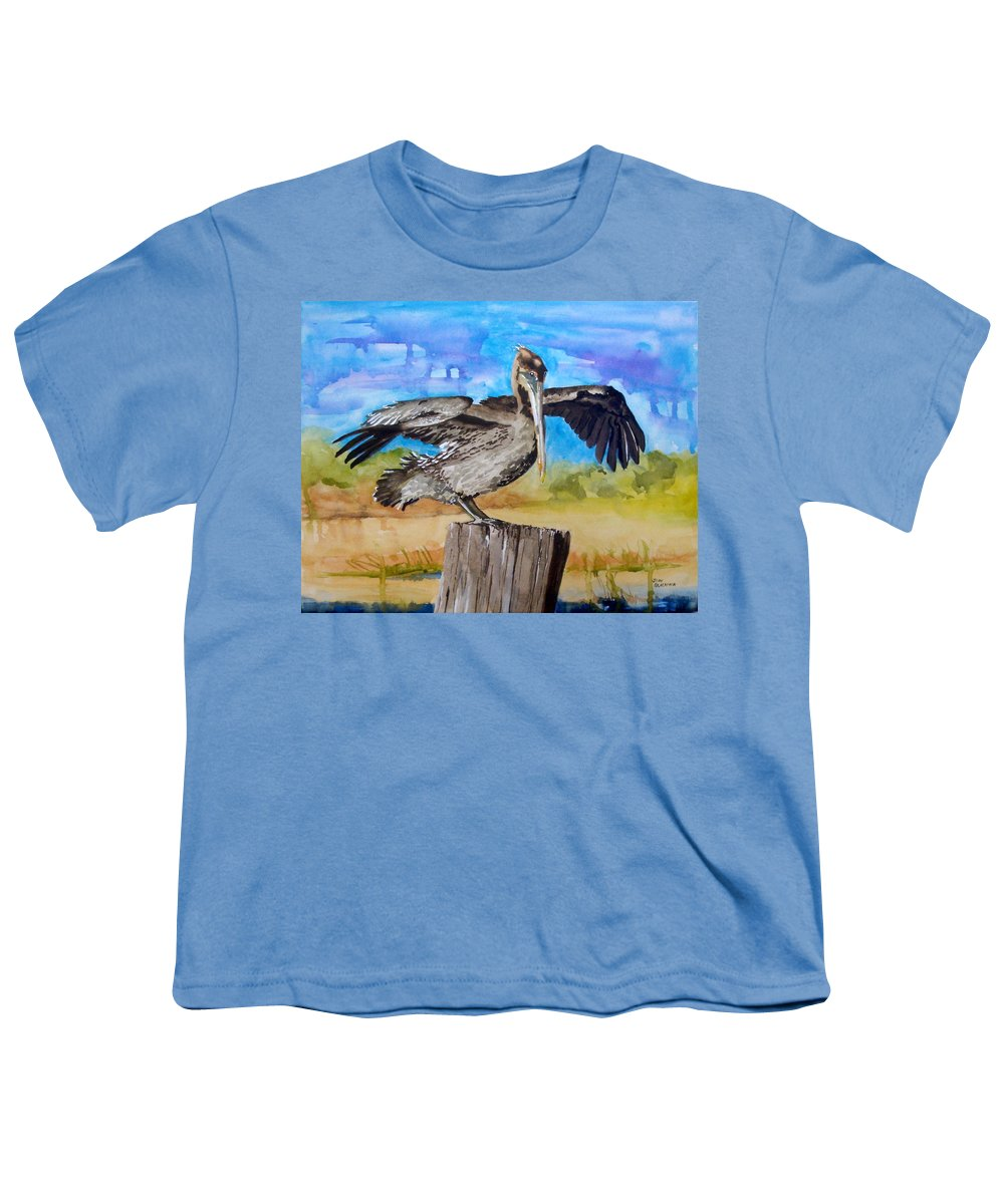 Pelican Youth T-Shirt featuring the painting Baby Spreads His Wings by Jean Blackmer