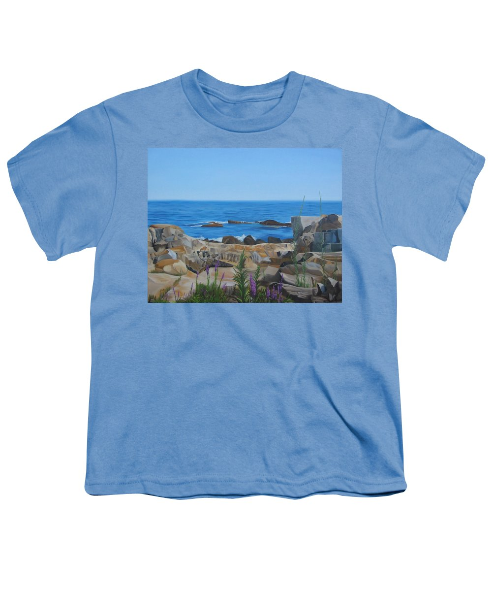 Seascape Youth T-Shirt featuring the painting Bass Rocks Gloucester by Lea Novak