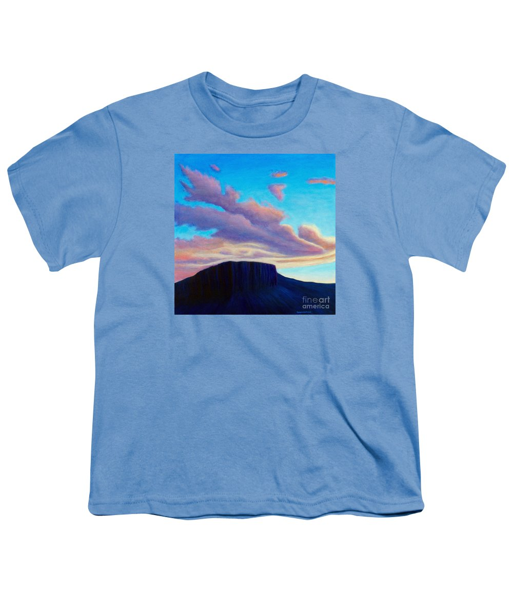 Landscape Youth T-Shirt featuring the painting Black Mesa Sunset by Brian Commerford