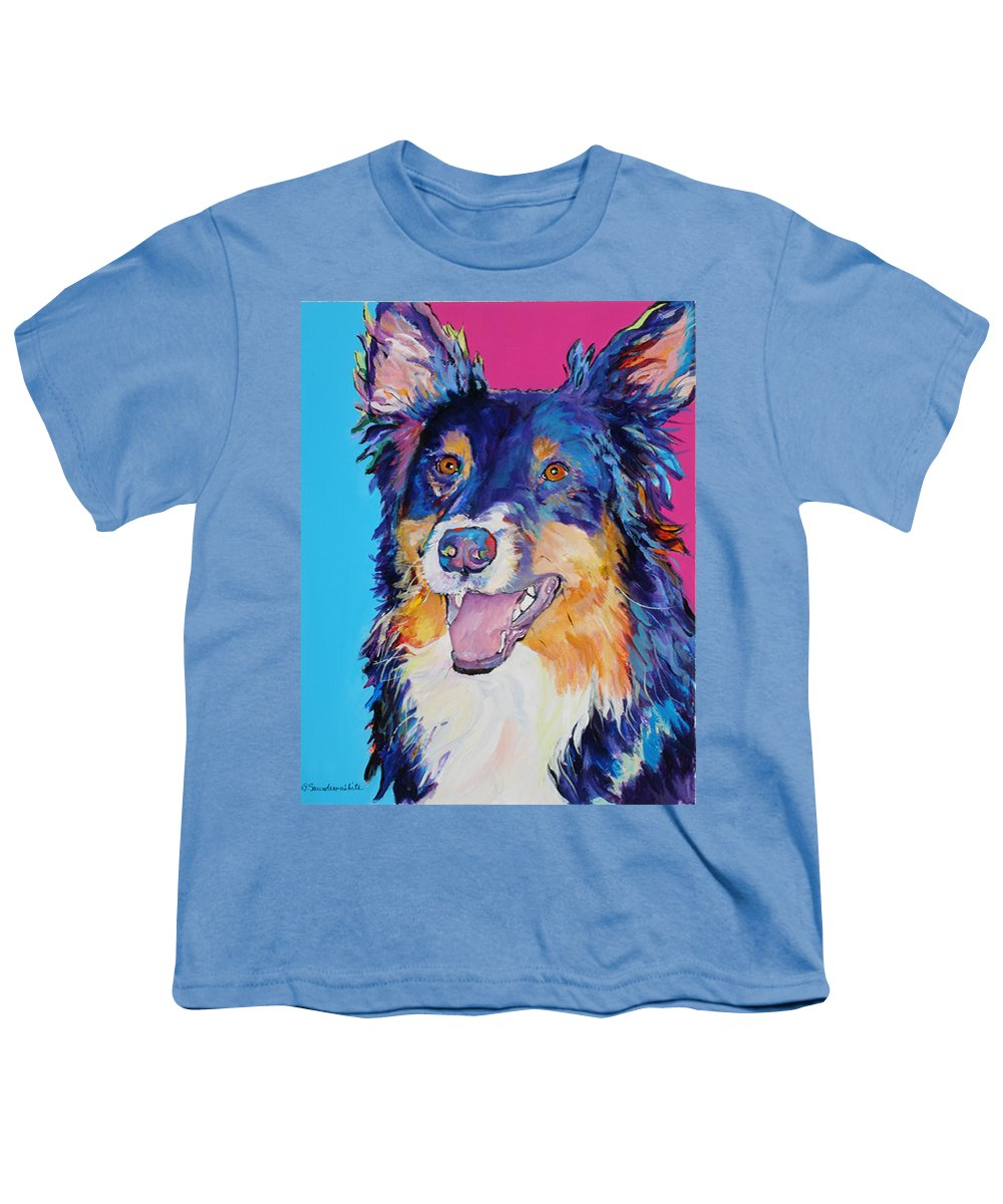 Dog Youth T-Shirt featuring the painting Blackjack by Pat Saunders-White