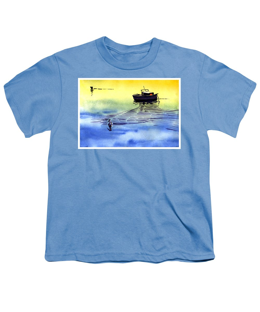 Watercolor Youth T-Shirt featuring the painting Boat And The Seagull by Anil Nene