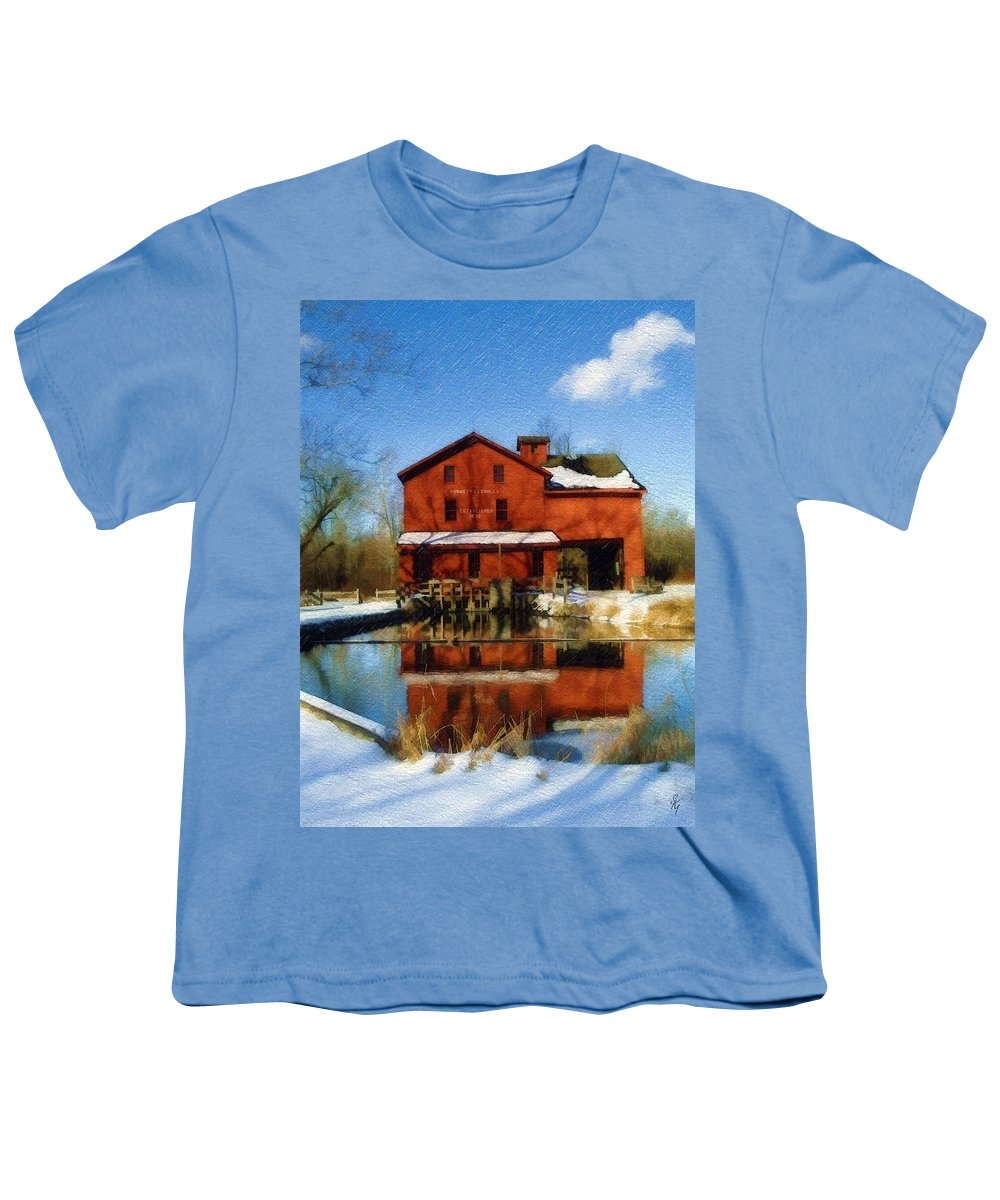 Bonneyville Mill Youth T-Shirt featuring the photograph Bonneyville In Winter by Sandy MacGowan