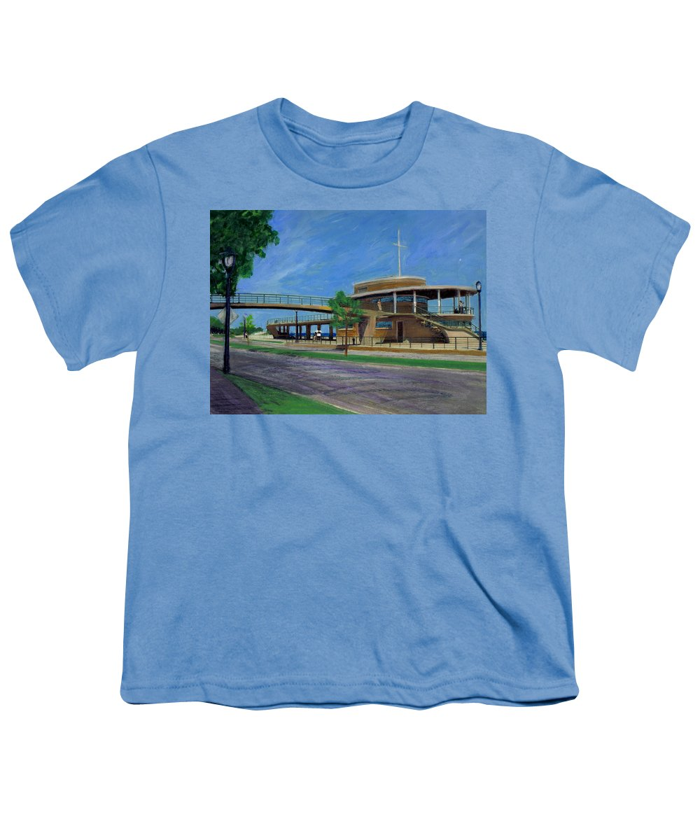 Miexed Media Youth T-Shirt featuring the mixed media Bradford Beach House by Anita Burgermeister