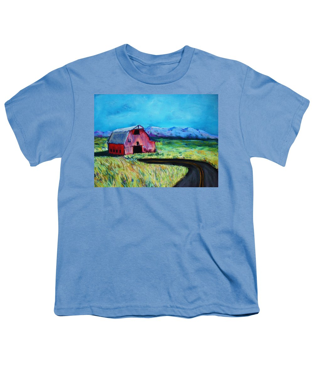Barn Youth T-Shirt featuring the pastel Bradley's Barn by Melinda Etzold